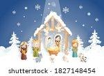 a christmas nativity scene... | Shutterstock .eps vector #1827148454