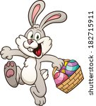cartoon easter bunny jumping... | Shutterstock .eps vector #182715911