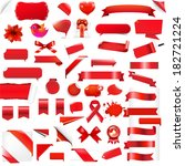 big set red elements  with... | Shutterstock .eps vector #182721224