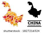 Mosaic autumn leaves and usual map of Heilongjiang Province. Vector map of Heilongjiang Province is made of random autumn maple and oak leaves. Abstract geographic scheme in bright gold, red,