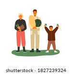 happy family holding fruits and ... | Shutterstock .eps vector #1827239324