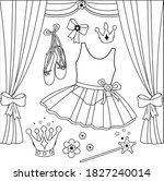 ballet set with cute ballerina... | Shutterstock .eps vector #1827240014