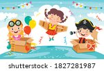 happy kids playing with... | Shutterstock .eps vector #1827281987