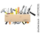 vector board with tools | Shutterstock .eps vector #182729231