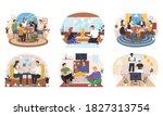 set of friends home activities. ... | Shutterstock .eps vector #1827313754