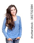 young woman posing and smiling... | Shutterstock . vector #182732384