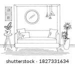 living room graphic black white ... | Shutterstock .eps vector #1827331634