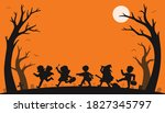 Happy Halloween. Silhouette Of...
