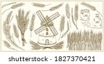 set with ears of wheat and... | Shutterstock .eps vector #1827370421