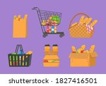 shopping trolley full of food ... | Shutterstock . vector #1827416501