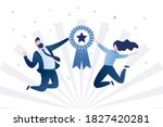 happy business people or office ... | Shutterstock .eps vector #1827420281