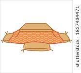 kotatsu desk for 4 people   Shutterstock .eps vector #1827434471