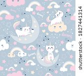 seamless cute pattern with with ... | Shutterstock .eps vector #1827441314