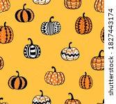 lovely hand drawn pumpkin...   Shutterstock .eps vector #1827443174