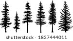 set of tree silhouettes of... | Shutterstock .eps vector #1827444011