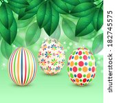 easter eggs with colorful... | Shutterstock .eps vector #182745575