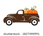 Pumpkins On A Truck Vector...