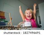 Happy Cute Girl Saving Money ...