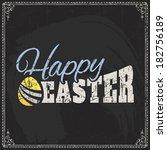 happy easter typographical... | Shutterstock . vector #182756189