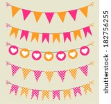 bunting set pink and orange for ... | Shutterstock .eps vector #182756255
