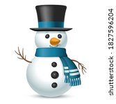 christmas snowman with top hat...   Shutterstock .eps vector #1827596204