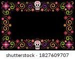 dia de muertos holiday flower... | Shutterstock .eps vector #1827609707