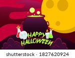 happy halloween background with ... | Shutterstock .eps vector #1827620924