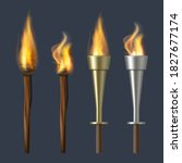 Fire Torch. Realistic Flame...