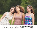 three girls laughing together... | Shutterstock . vector #182767889