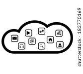 cloud computing black white... | Shutterstock .eps vector #182770169