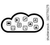 cloud computing black white... | Shutterstock . vector #182770175