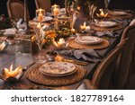 Christmas Table With Candles ...
