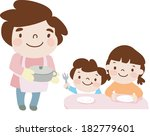 father serving meal at home | Shutterstock . vector #182779601