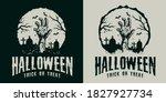 monochrome vintage halloween... | Shutterstock .eps vector #1827927734