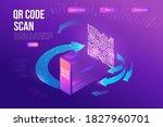 qr code scan isometric...