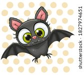 cute cartoon bat on a dots... | Shutterstock .eps vector #1827974651