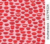 seamless pattern with red lips | Shutterstock . vector #182799224