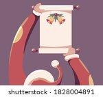 santa holding scroll paper...   Shutterstock .eps vector #1828004891