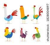 cute rooster vector cartoon...   Shutterstock .eps vector #1828004897