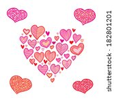 valentine's day hearts icon set | Shutterstock . vector #182801201