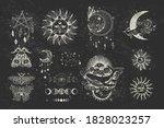 vector illustration set of moon ...   Shutterstock .eps vector #1828023257