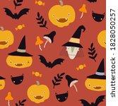 hand drawn vector halloween... | Shutterstock .eps vector #1828050257