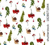 Seamless Pattern With Snails ...