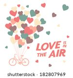 greeting card with bike and air ... | Shutterstock .eps vector #182807969