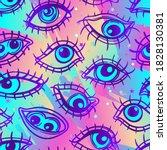 eyes  seamless pattern over...   Shutterstock .eps vector #1828130381