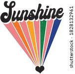 groovy themed sunshine slogan... | Shutterstock .eps vector #1828132961
