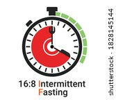 16 8 intermittent fasting  if ... | Shutterstock .eps vector #1828145144