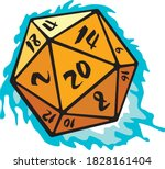 twenty sided cube with blue fire | Shutterstock .eps vector #1828161404