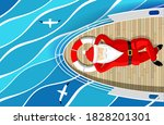 santa claus is swimming on a...   Shutterstock .eps vector #1828201301