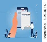 businessman signing up smart or ... | Shutterstock .eps vector #1828203647